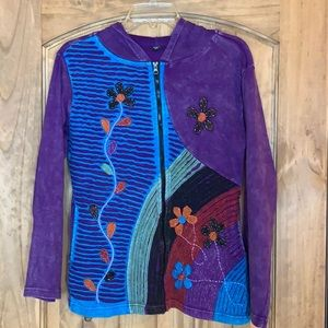 Colorful hooded jacket Made in Nepal Small/medium